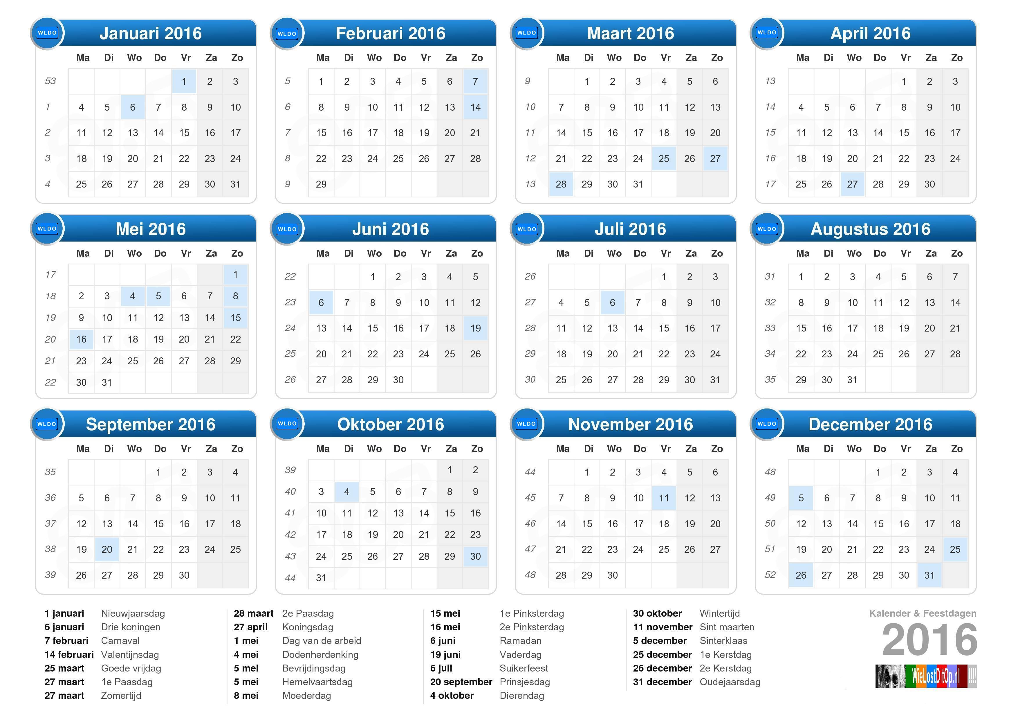 feestdagen kalender 2016