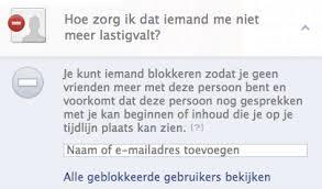 persoon blokkeren in facebook
